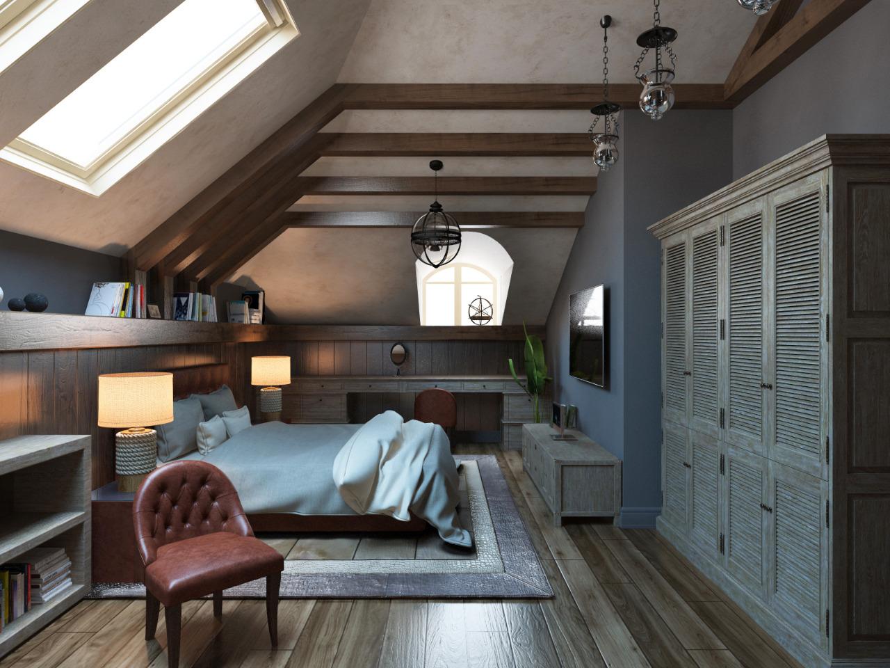 Дизайн проект спальни на мансардном этаже